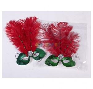 Antifaz verde con Plumas rojas