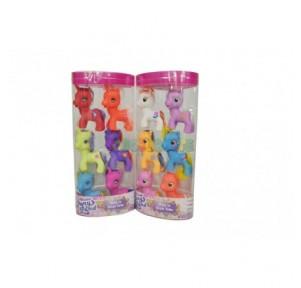 Set 6 Mini ponies tubo tubo...