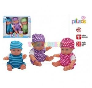 Conjunto 3 Bebés Pitusos 20cms